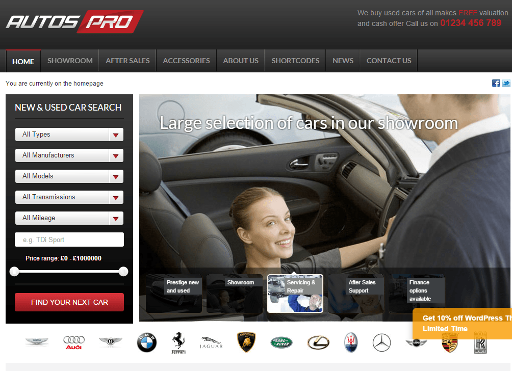 Autos Pro- Home page featured with slide show