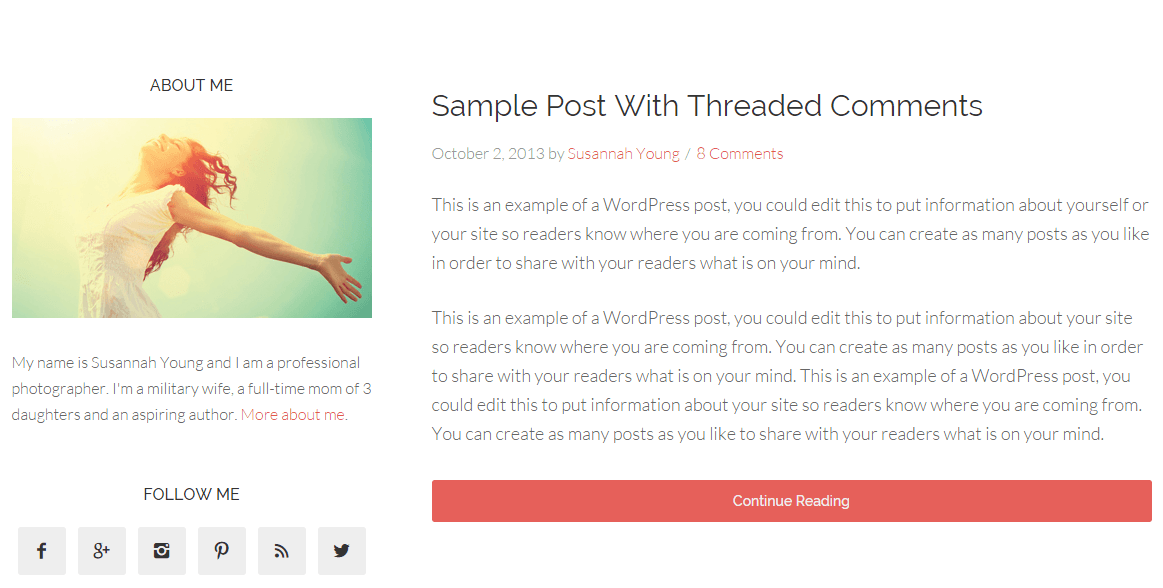 Beautiful pro theme's page with left sidebar