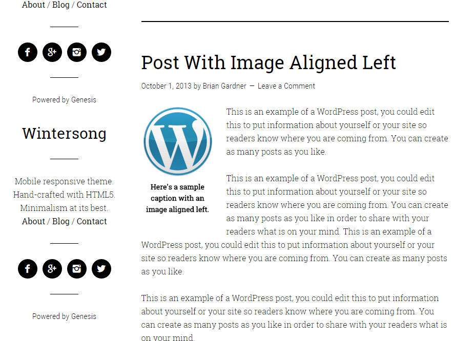 Blog page of Wintersong Pro theme