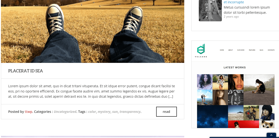 Blog page of Zoomy theme with right sidebar