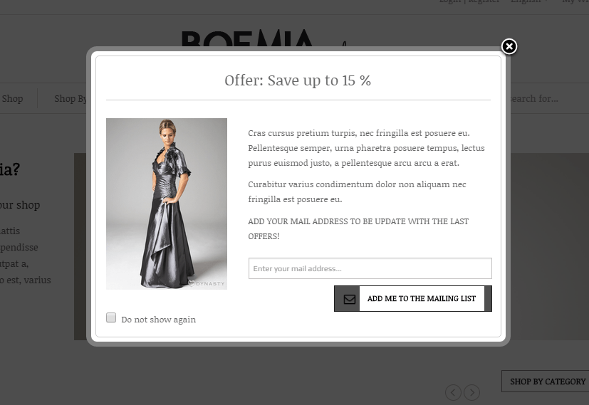 Boemia- Popup newsletter subscription supported by this theme