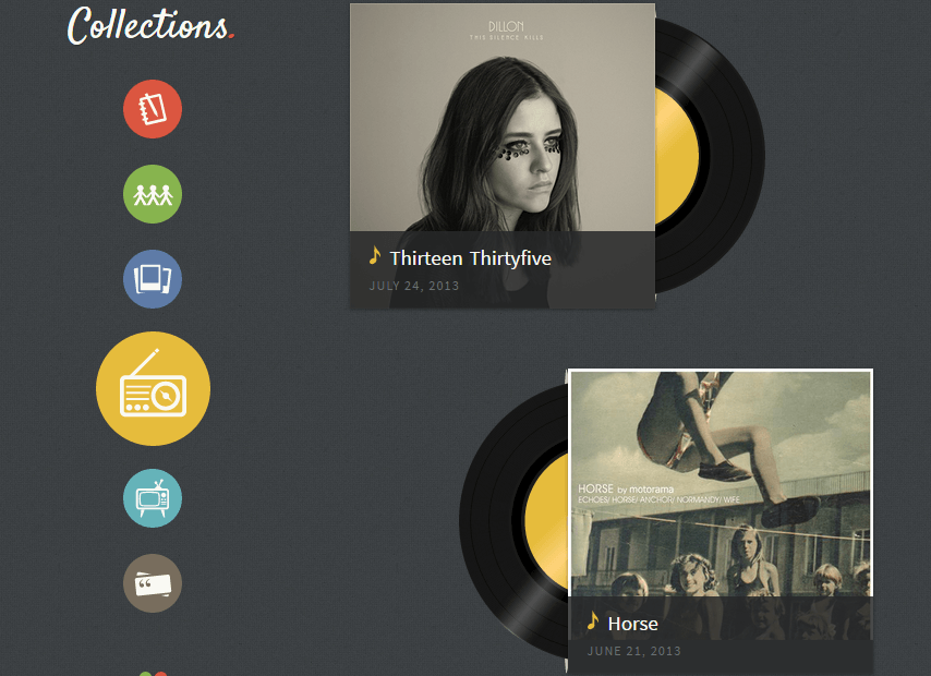 Collections- Track animations used for music layout of this theme