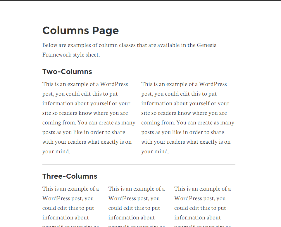Column page of Remobile Pro theme
