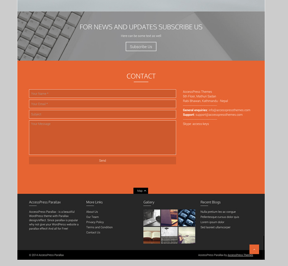 Contact Form on AccessPress Parallax