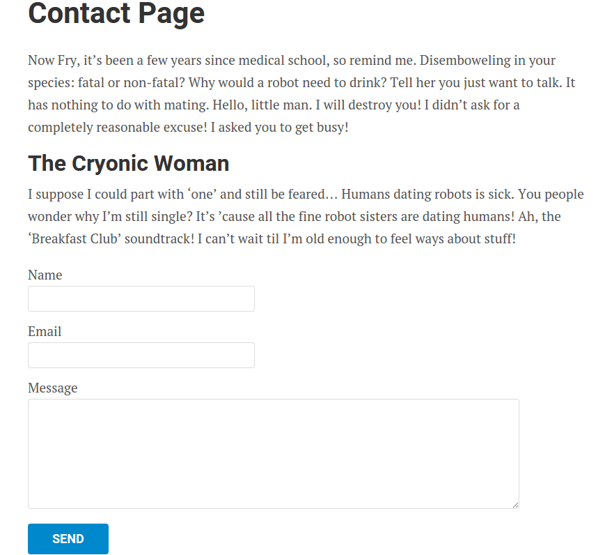 Contact Page of NewsPaper