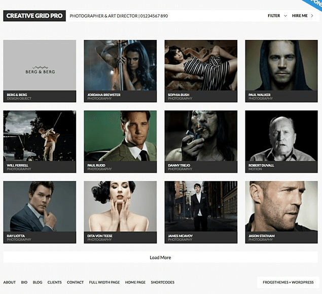 CreativeGrid Pro- A responsive portfolio based WordPress theme