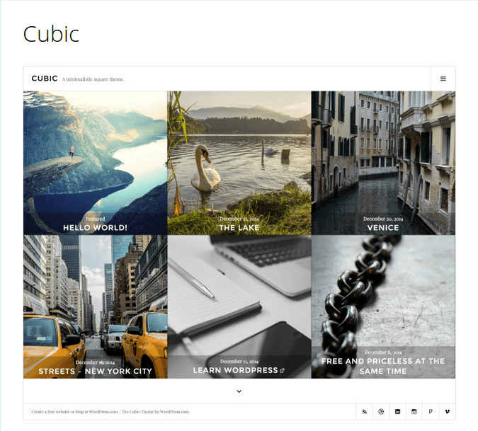 Cubic - PhotoBlogging WordPress Theme