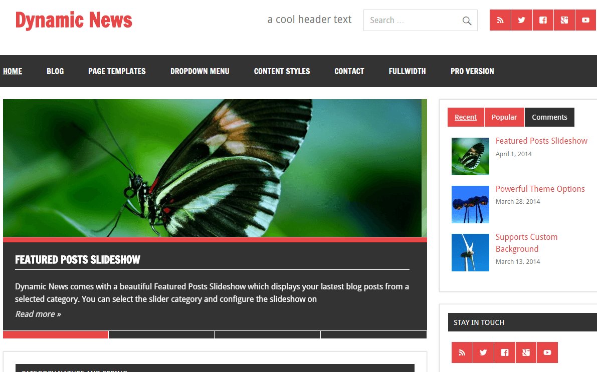 Dynamic News Lite- Front page showing featured slider, menu style, social icons and sidebar