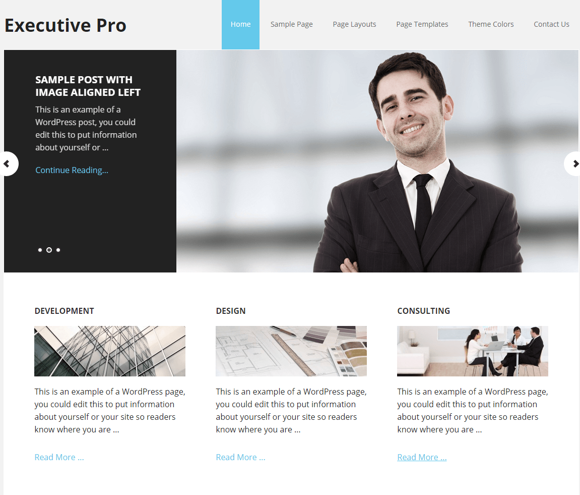 Executive Pro- Front page showing featured slider
