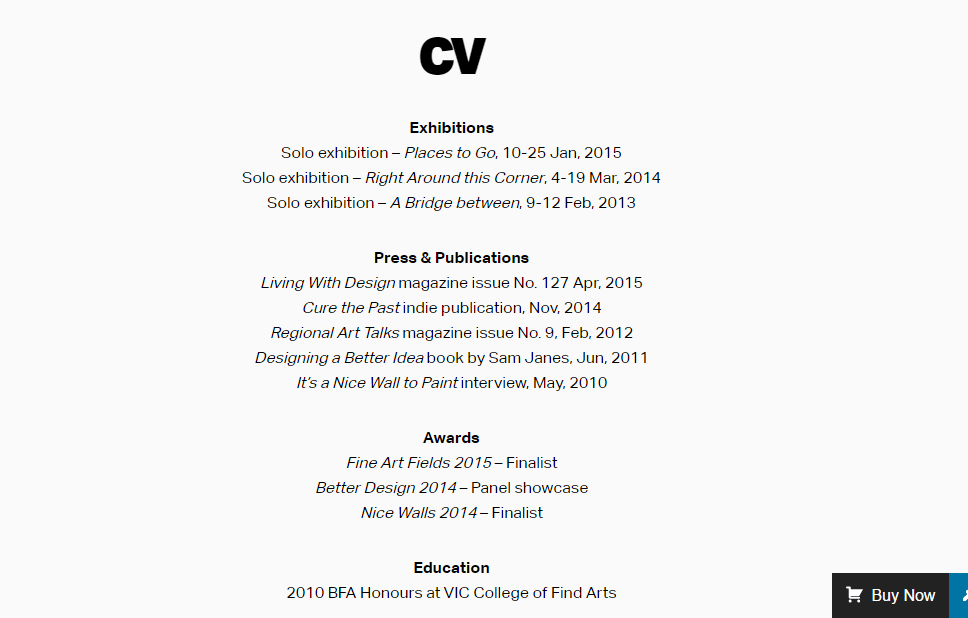 Finder page containing CV