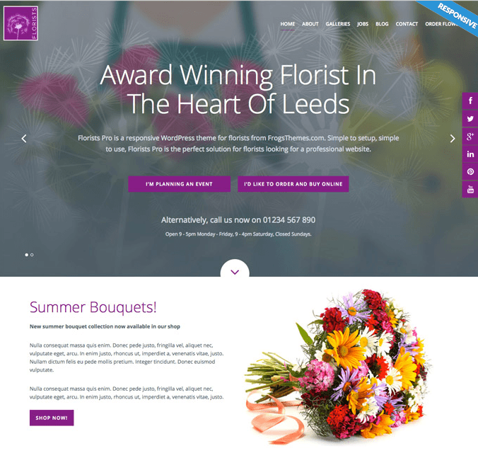 Florists Pro- A responsive WP theme for Flower vendors