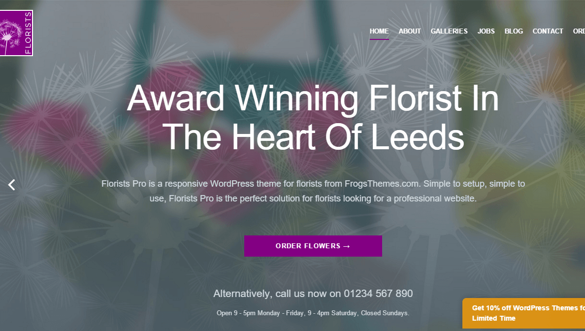 Florists Pro- Home page featured with slider