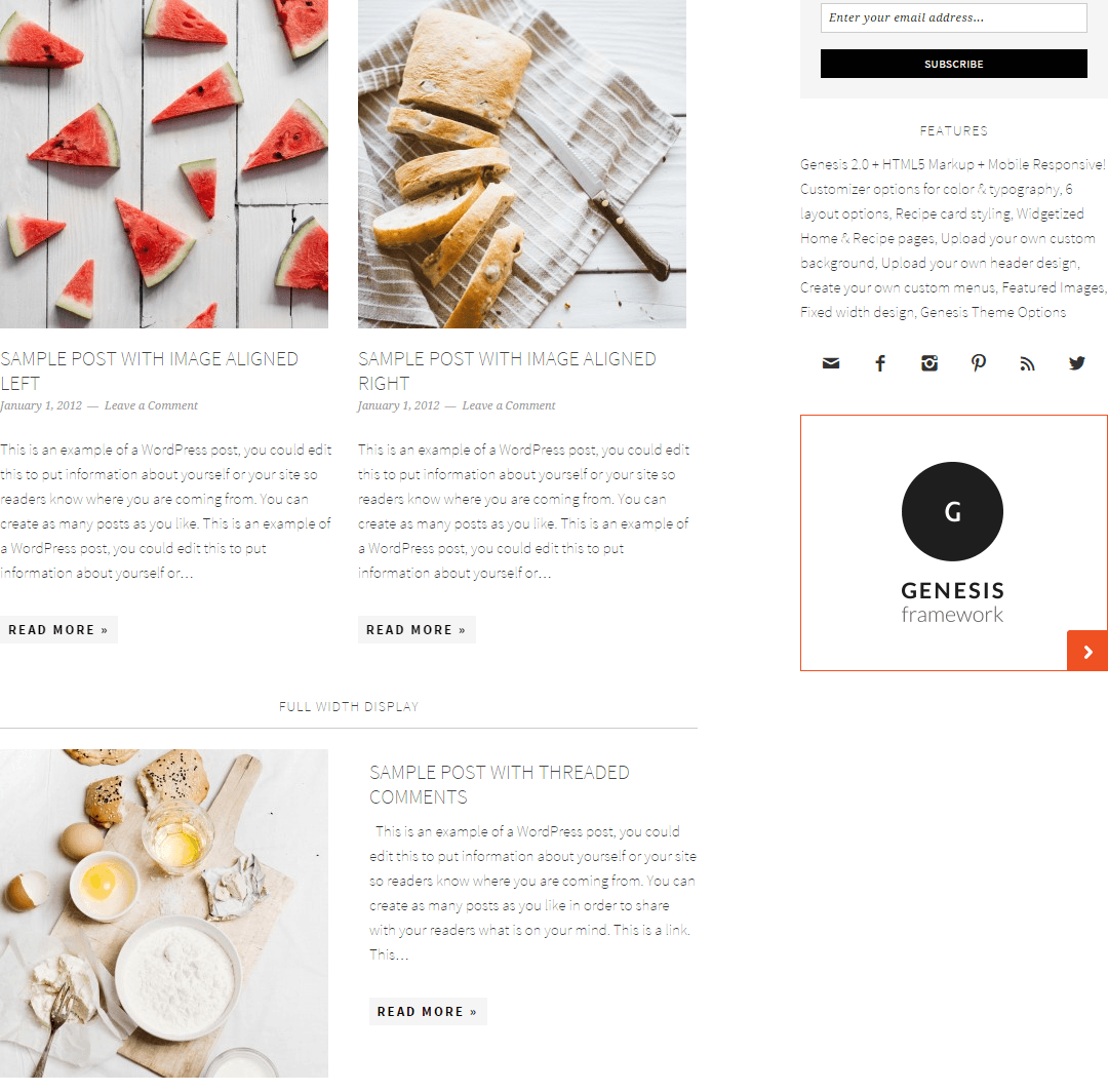 Foodie Pro- Widgetized home page of this theme