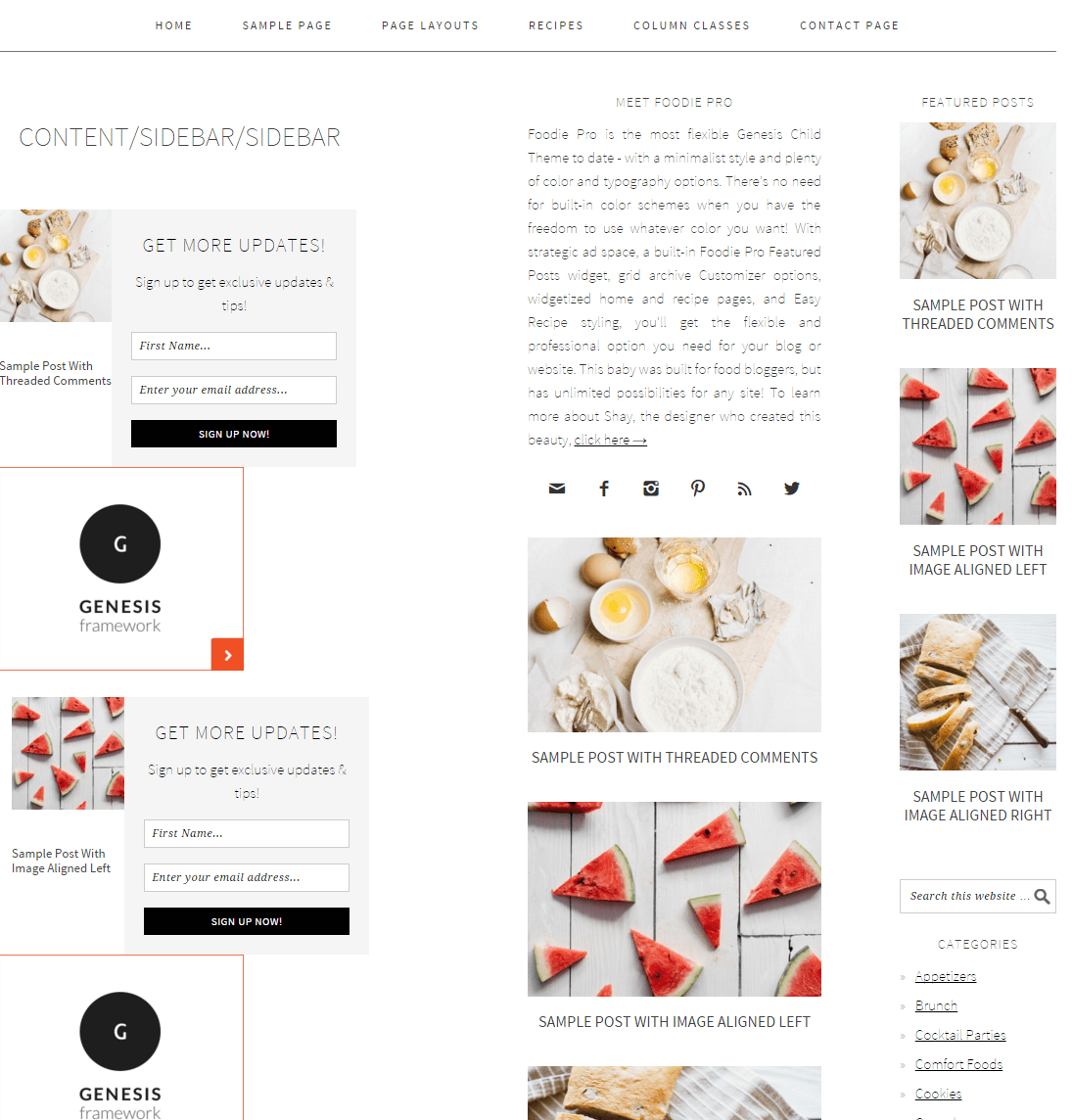Foodie Pro- sidebar-content-sidebar page layout of this theme