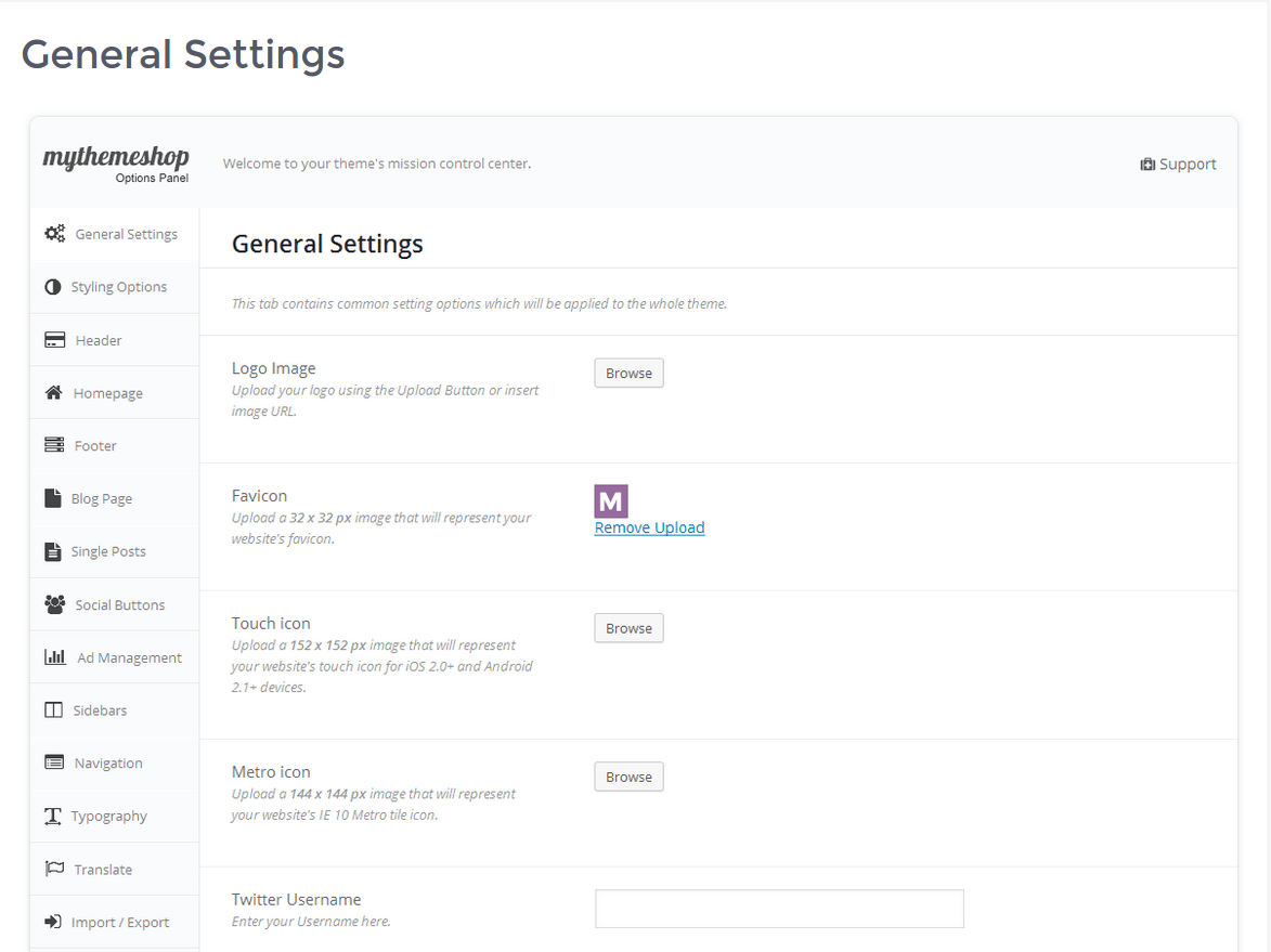 General-Setting Page of MoneyFlow