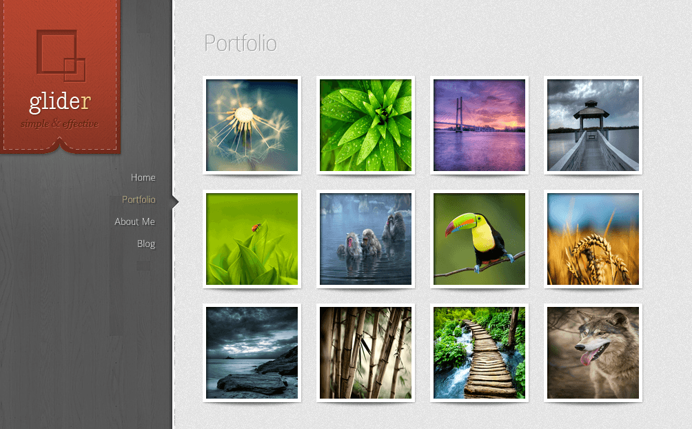 Glider- Portfolio grid view with effects on hover for each image
