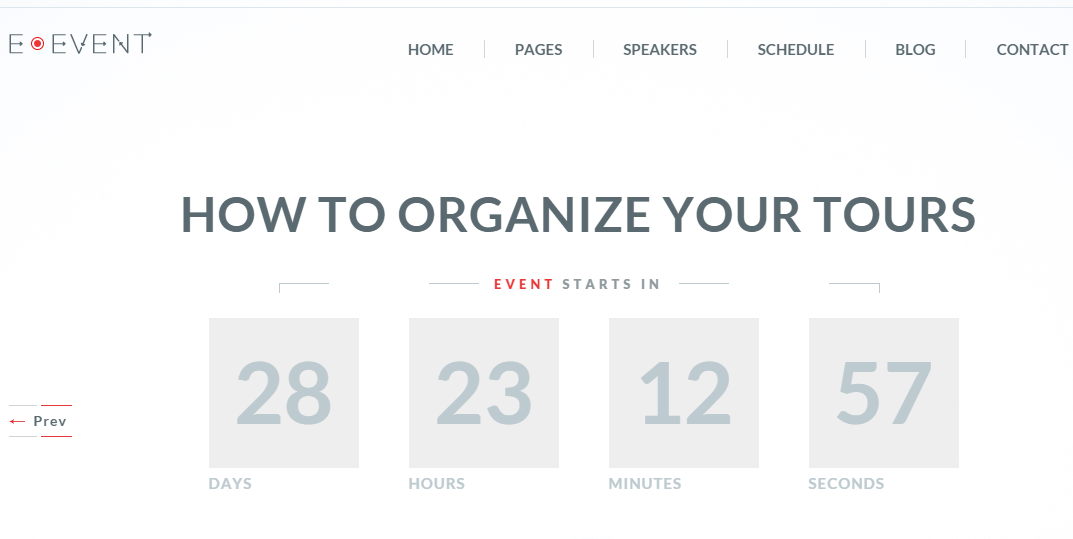 Home page of E-Event page