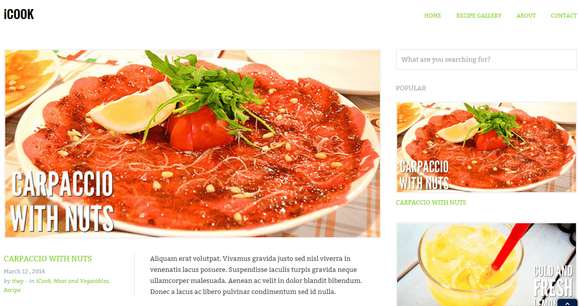 Home page of Icook theme