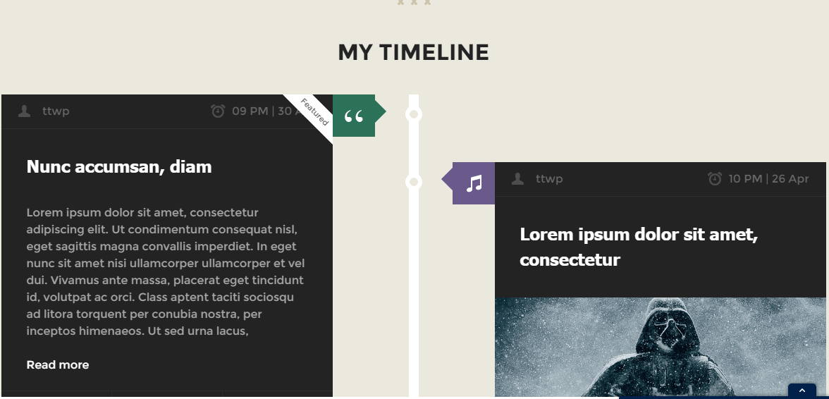 Homepage Timeline of CoolStuff theme