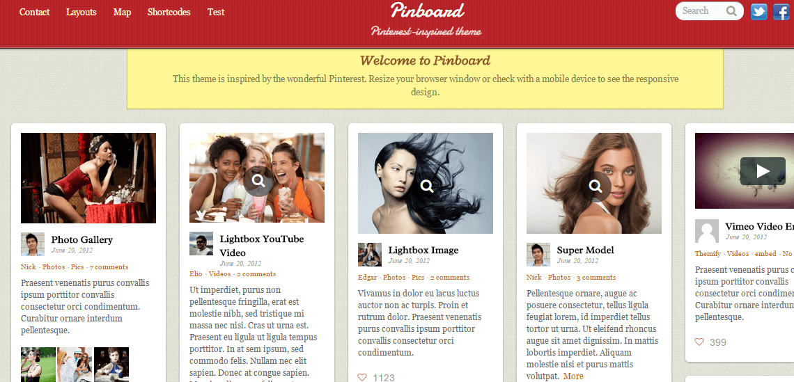 Homepage of Pinboard theme