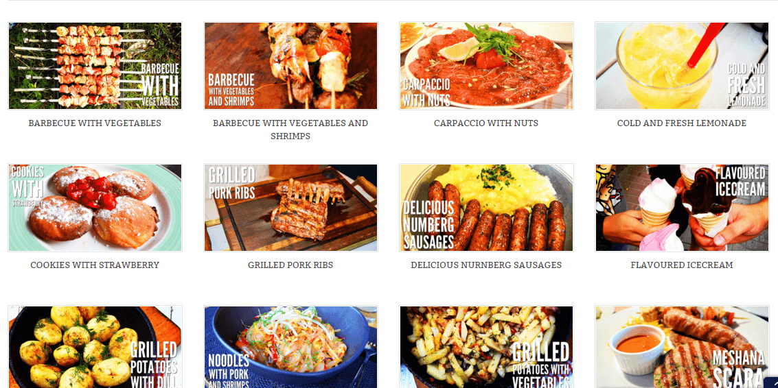 Icook theme showing all recipe items