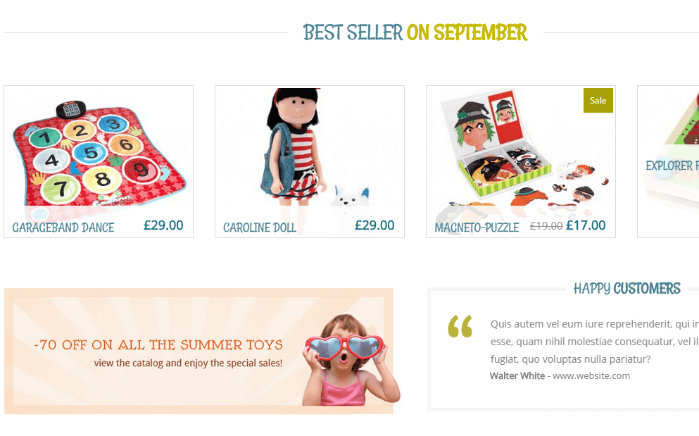 Kidshop- Product slider is provided by this theme to feature your latest products on front page
