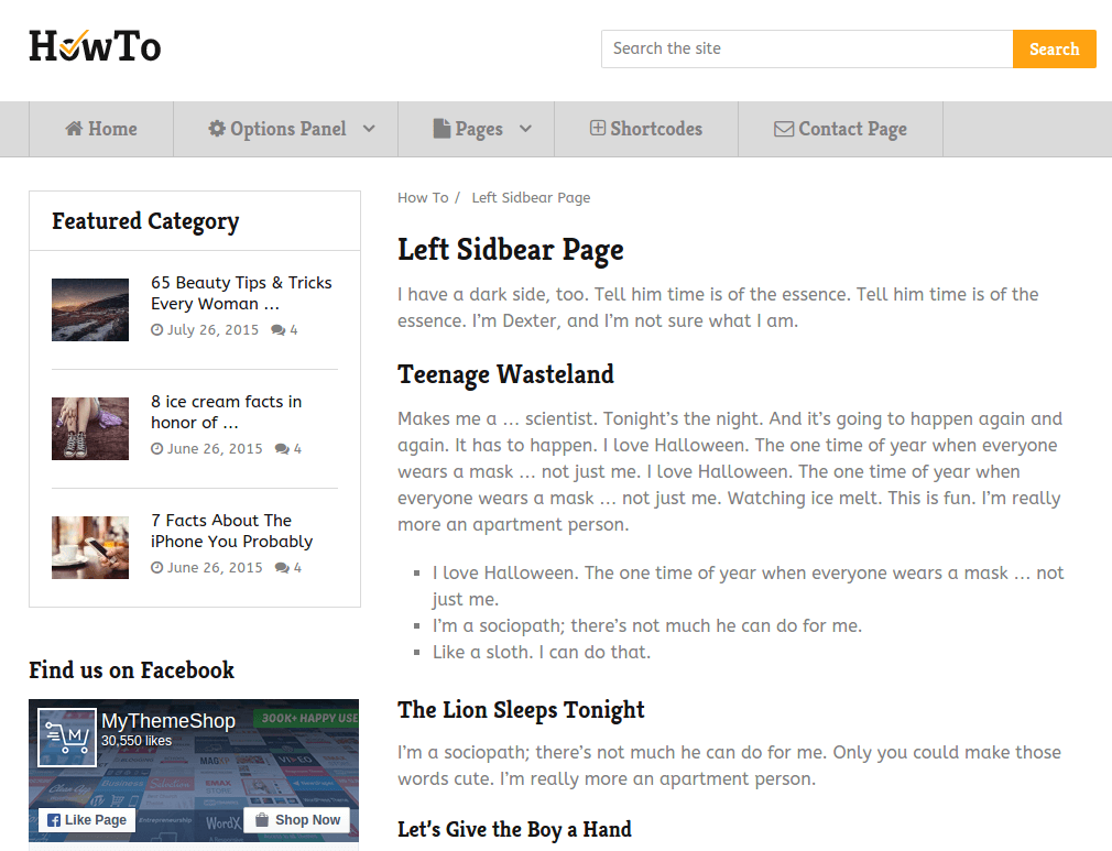 Left Sidebar Page of HowTo