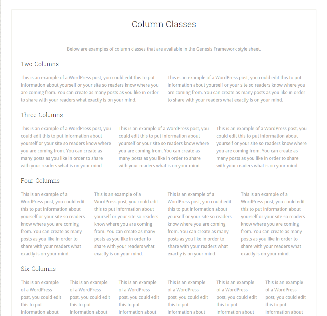 Lifestyle Pro- Column page template of this theme