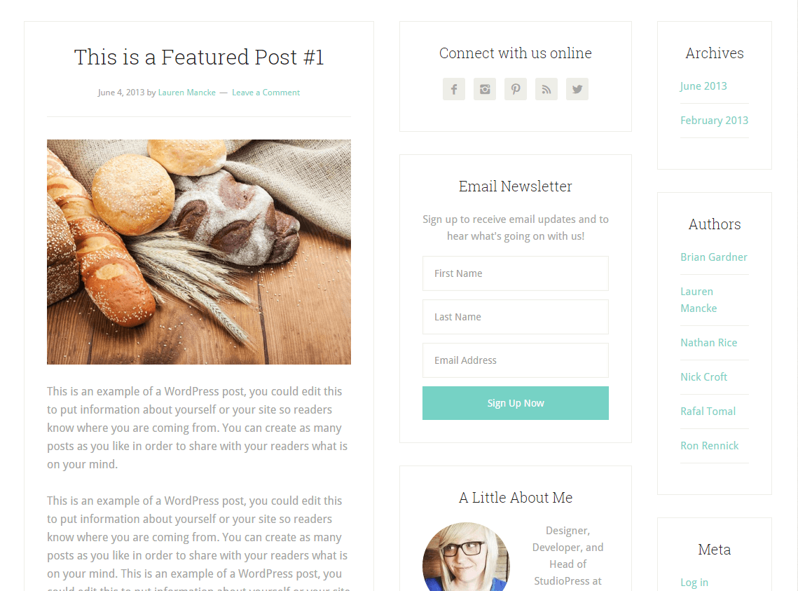 Lifestyle Pro- Page layout with content and sidebar at middle and right