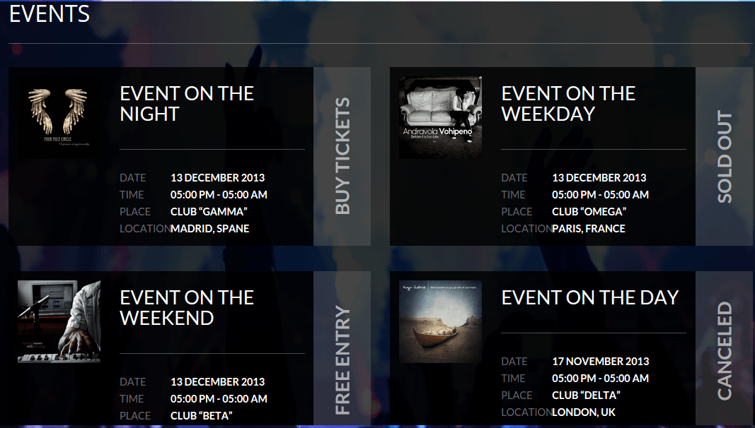 Lovers Events Page