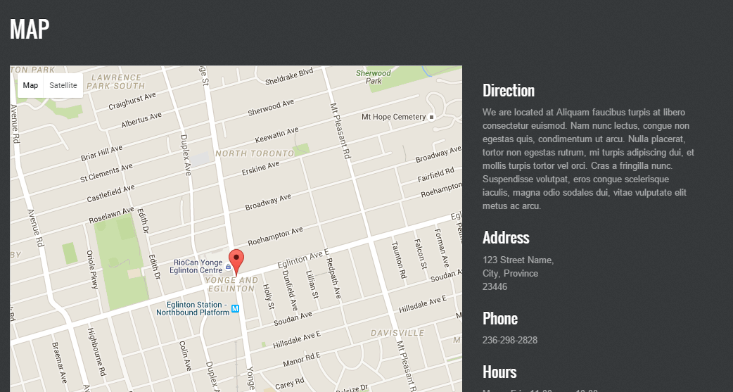 Map page of PhotoTouch theme