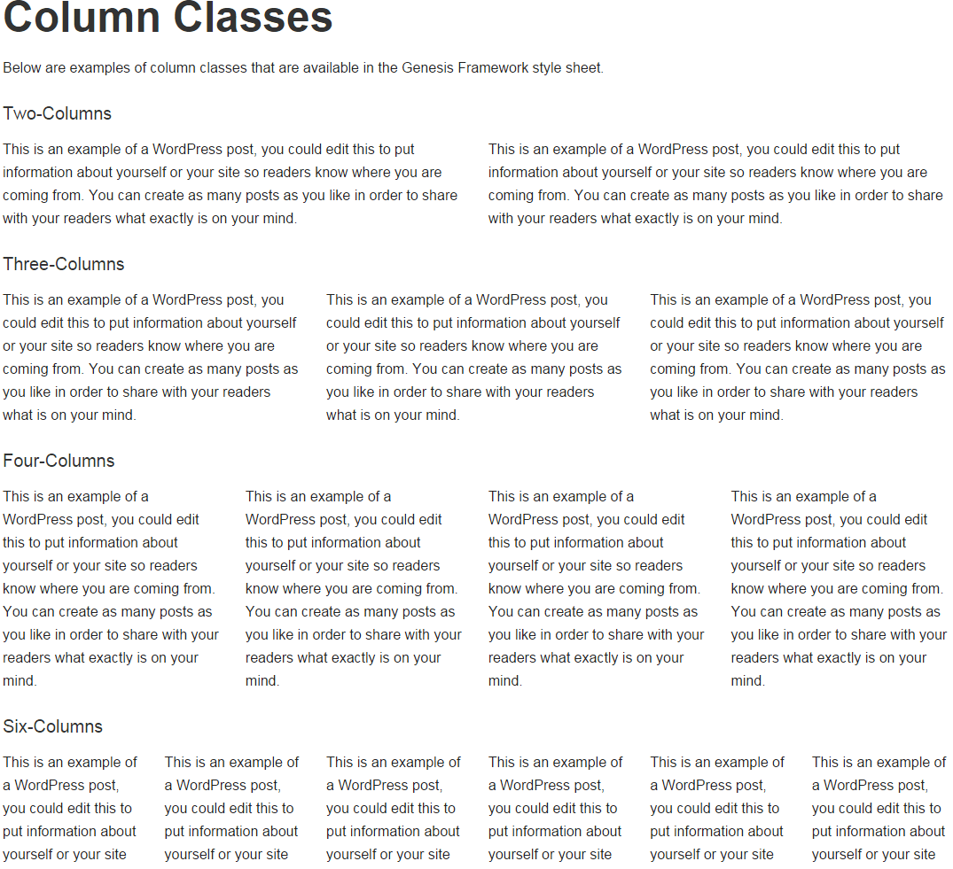 Metro Pro- Column Classes page template