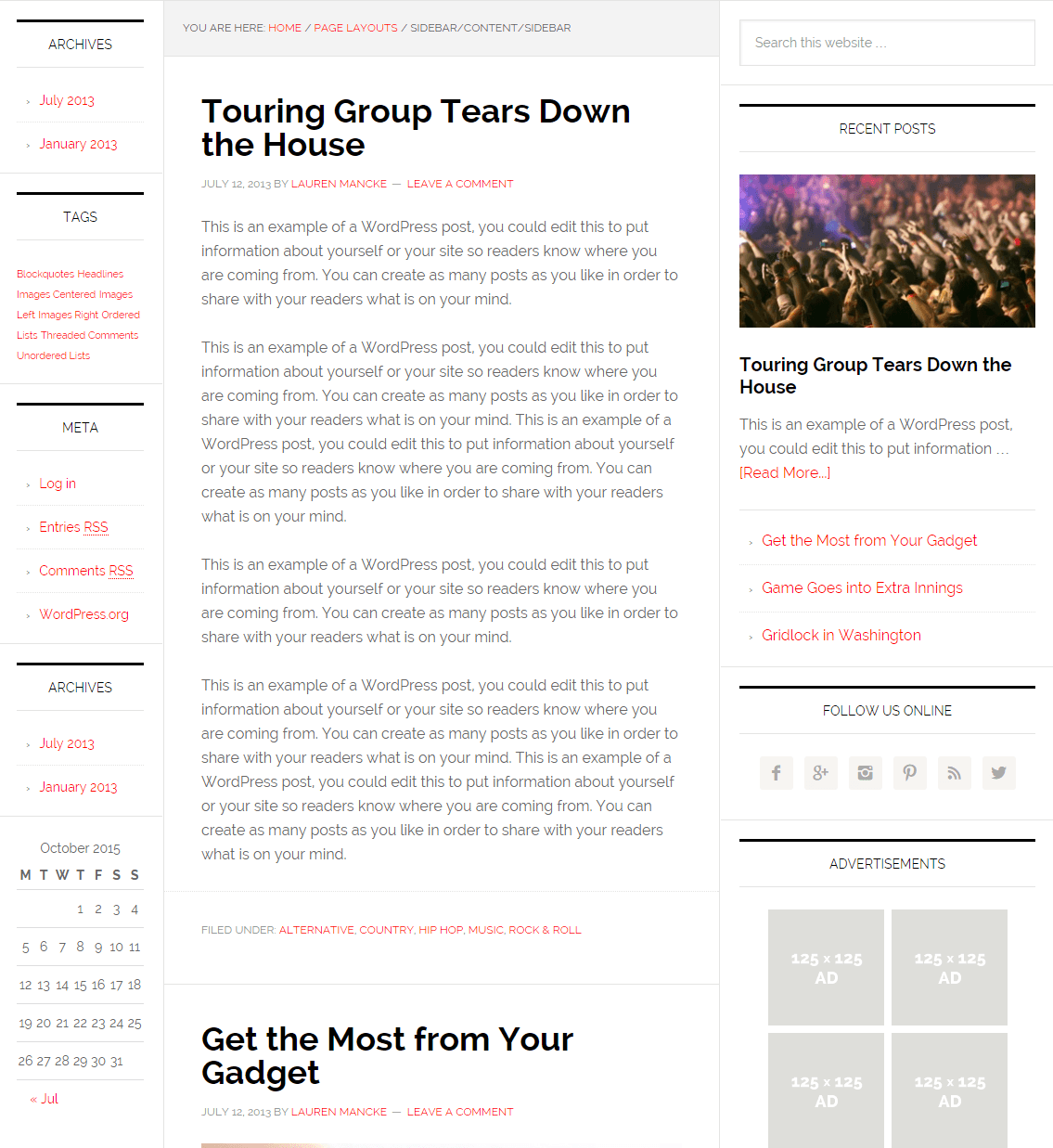 News Pro- Page layout with sidebar-content-sidebar pattern