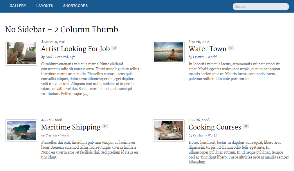 Newsy- 2 column and no sidebar layout of page