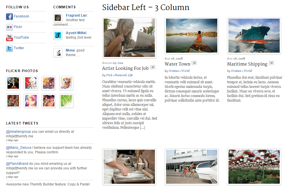 Newsy- Page layout with left sidebar and 3 columns