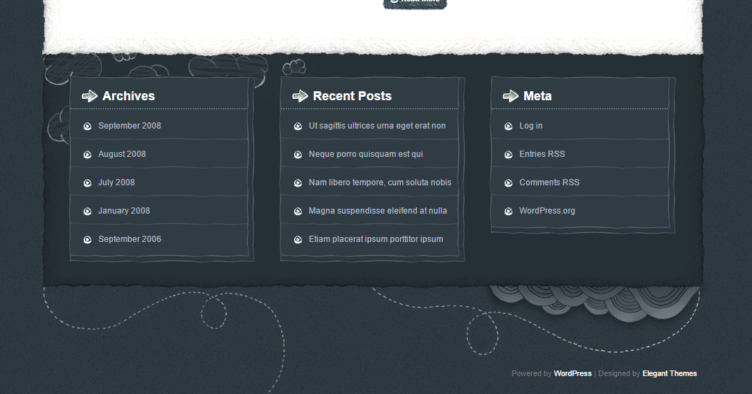 OnTheGo- Even the footer is hand-drawn & contain 3 widget areas