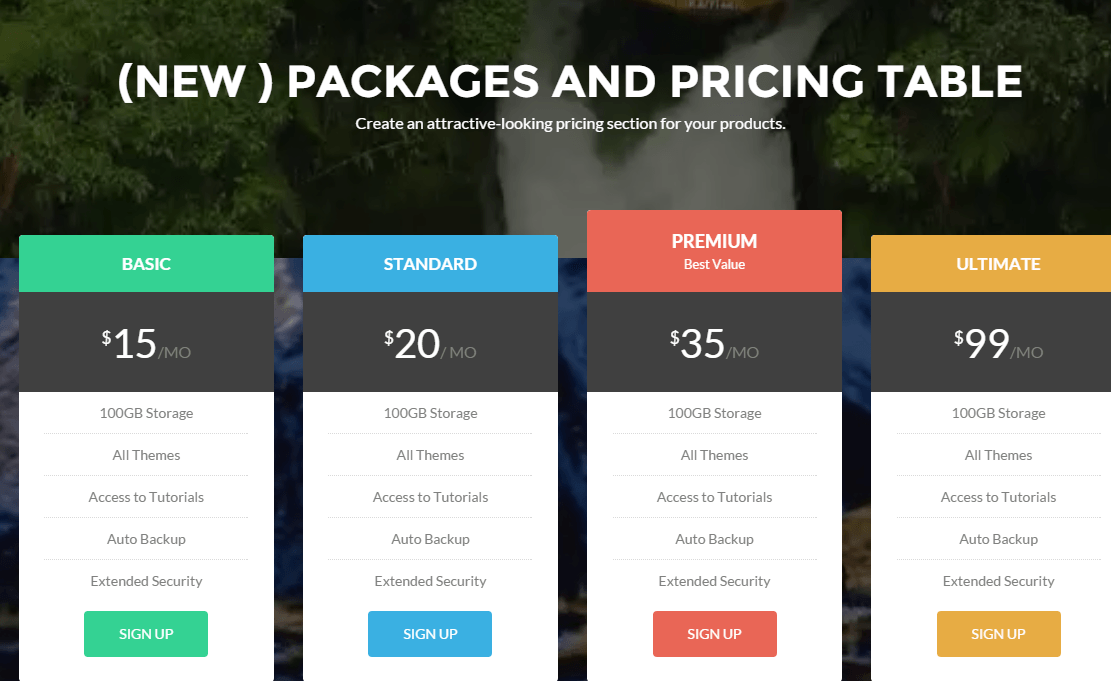 Packages and pricing tables shown by Zerif Pro theme