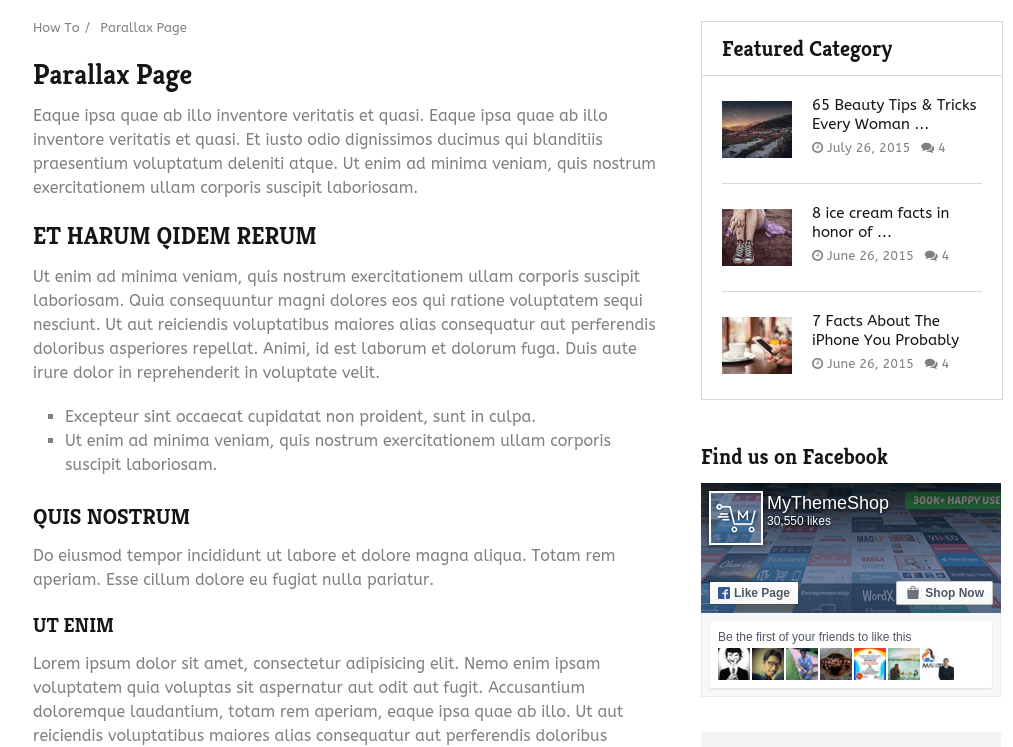 Parallax Page of HowTo