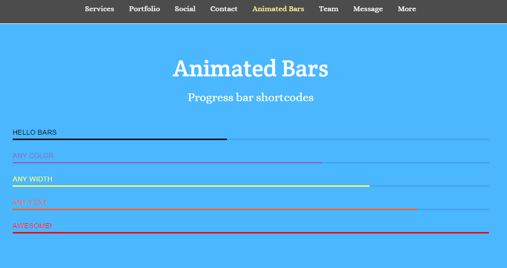 Parallax theme showing page with animated bars