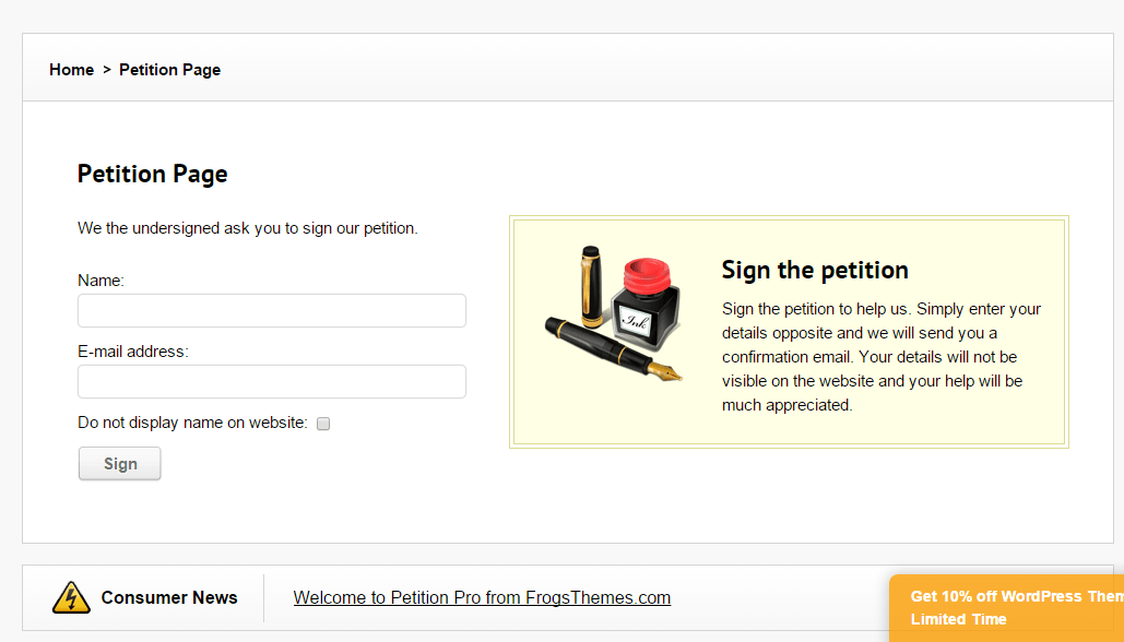 Petition Pro- Form to sign the petition
