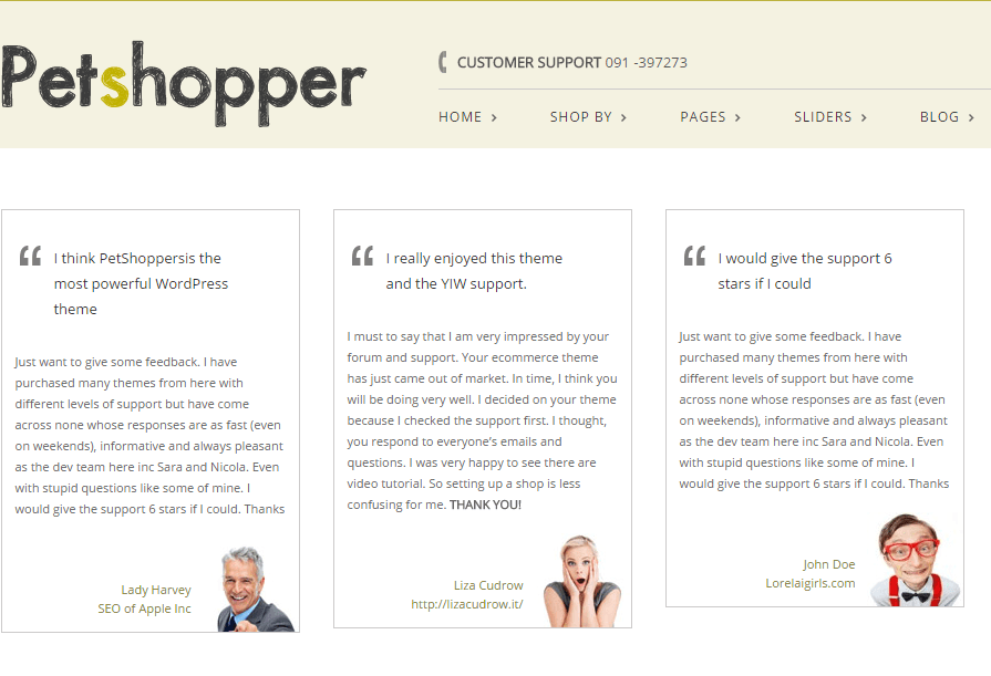 Petshopper- Testimonials built using shortcodes
