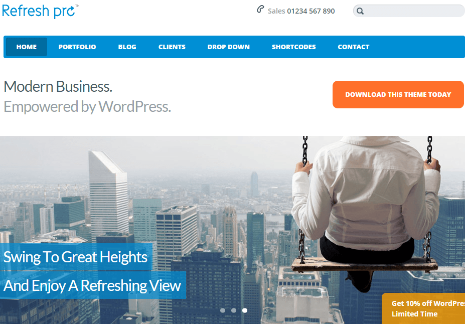 Refresh Pro- Home page featured with slider