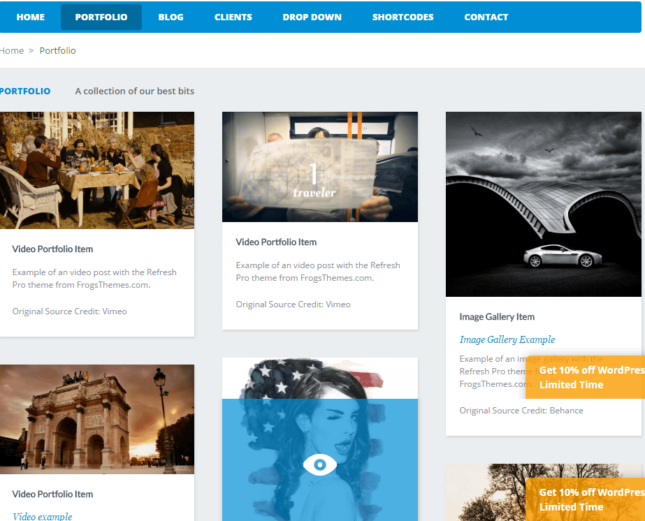 Refresh Pro- Portfolio page layout of this theme is attractive and has mouse hover effects
