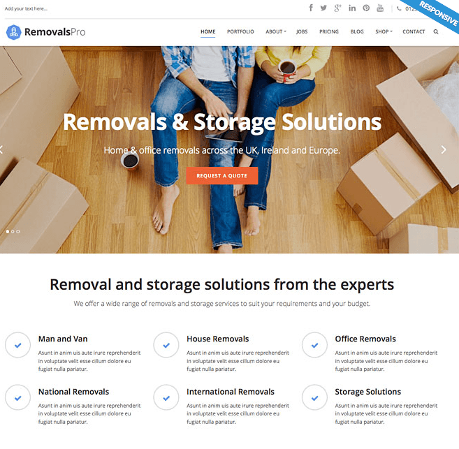 Removals Pro- A responsive WordPress Theme for Movers and Packers