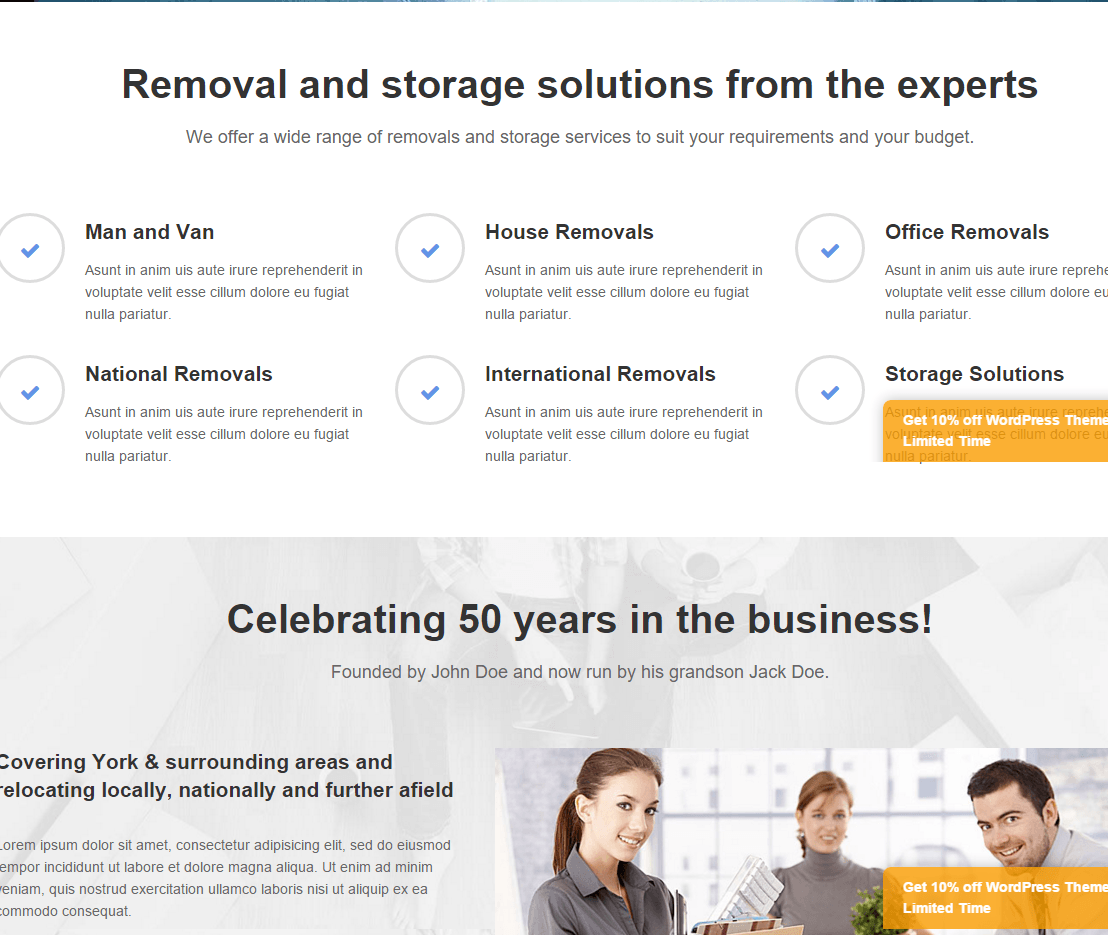 Removals Pro- Content part built with Visual Composer elements