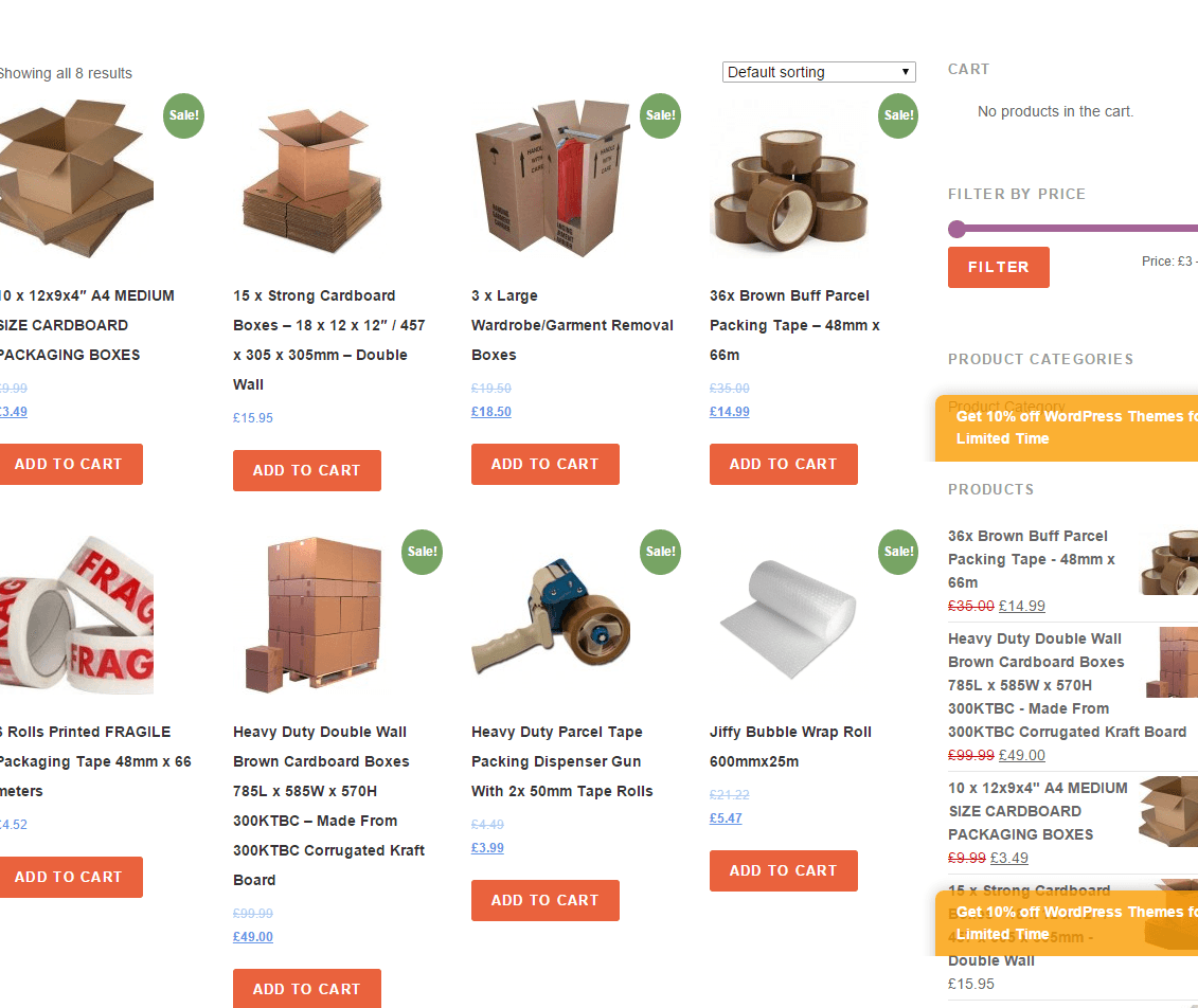 Removals Pro- Shop page of this theme