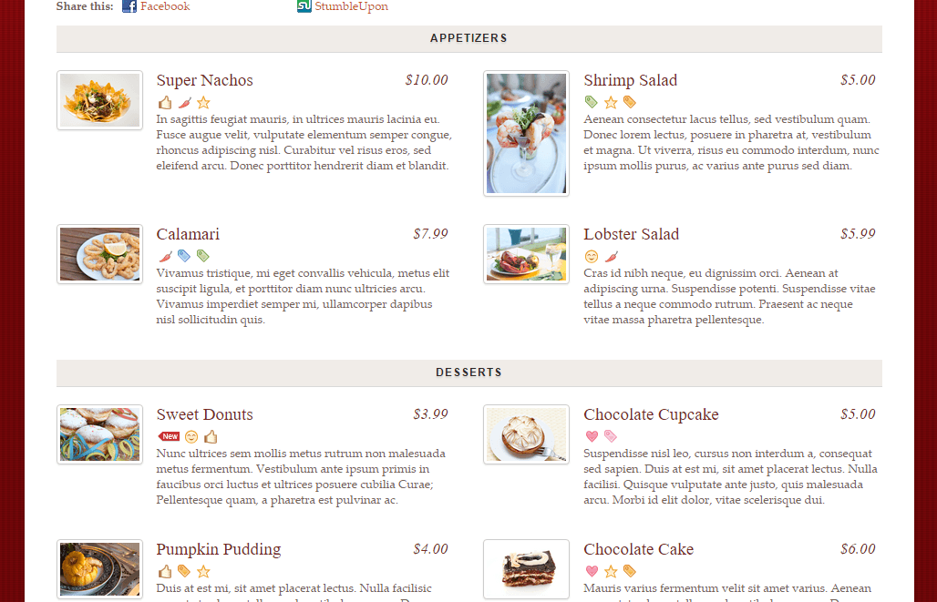 Rezo- Custom menu showing different sections of food with 2 columns