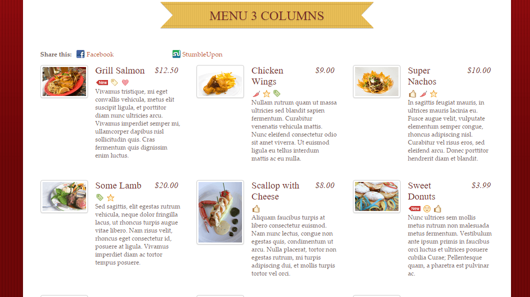 Rezo- Menu with 3 columns showing dishes