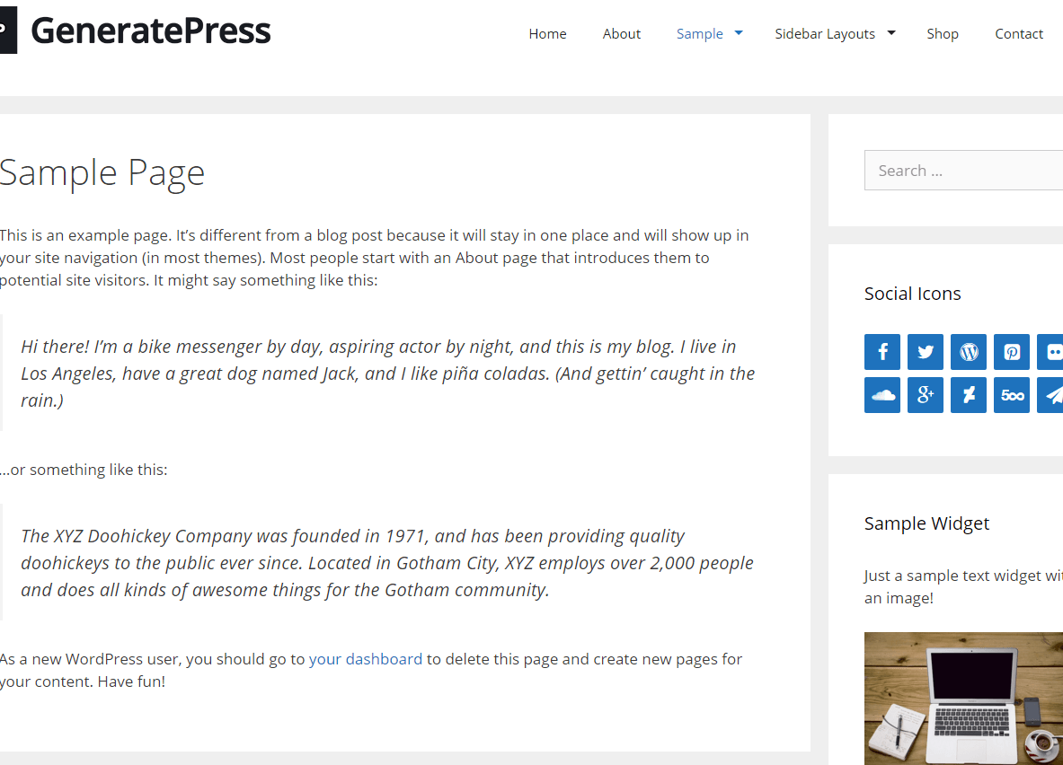 Sample page of GeneratePress theme