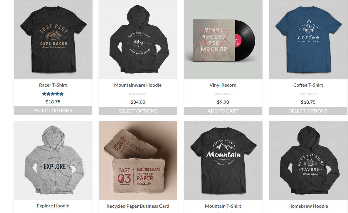 Shop page of Virtue theme